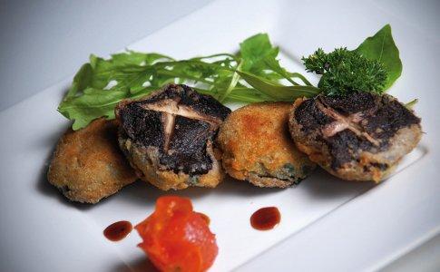 Shitake nadziewane szpinakiem