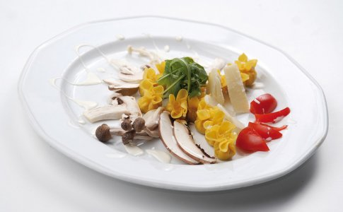 Makaron fagottini nadziewany serem gorgonzola z wykwintnym sosem pieczarkowym